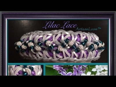Rainbow Loom Band Lilac Lace Bracelet Tutorial.How To