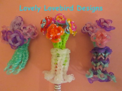 Rainbow Loom Flower Bouquet. Vase Pencil Topper. Mother's Day.