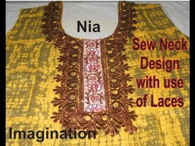Sew latest designer Neck design with use of laces