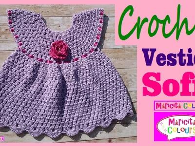 """Vestido a Crochet Ganchillo """"Sofía"""" (Parte 2) Tutorial por Maricita Colours"""