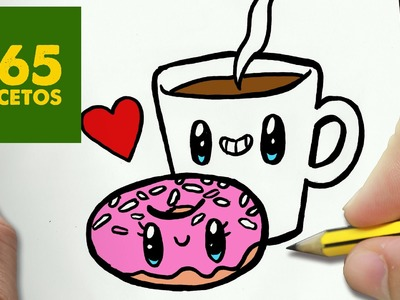 COMO DIBUJAR CAFE Y DONUT KAWAII PASO A PASO - Dibujos kawaii faciles - draw a COFFEE AND DONUT
