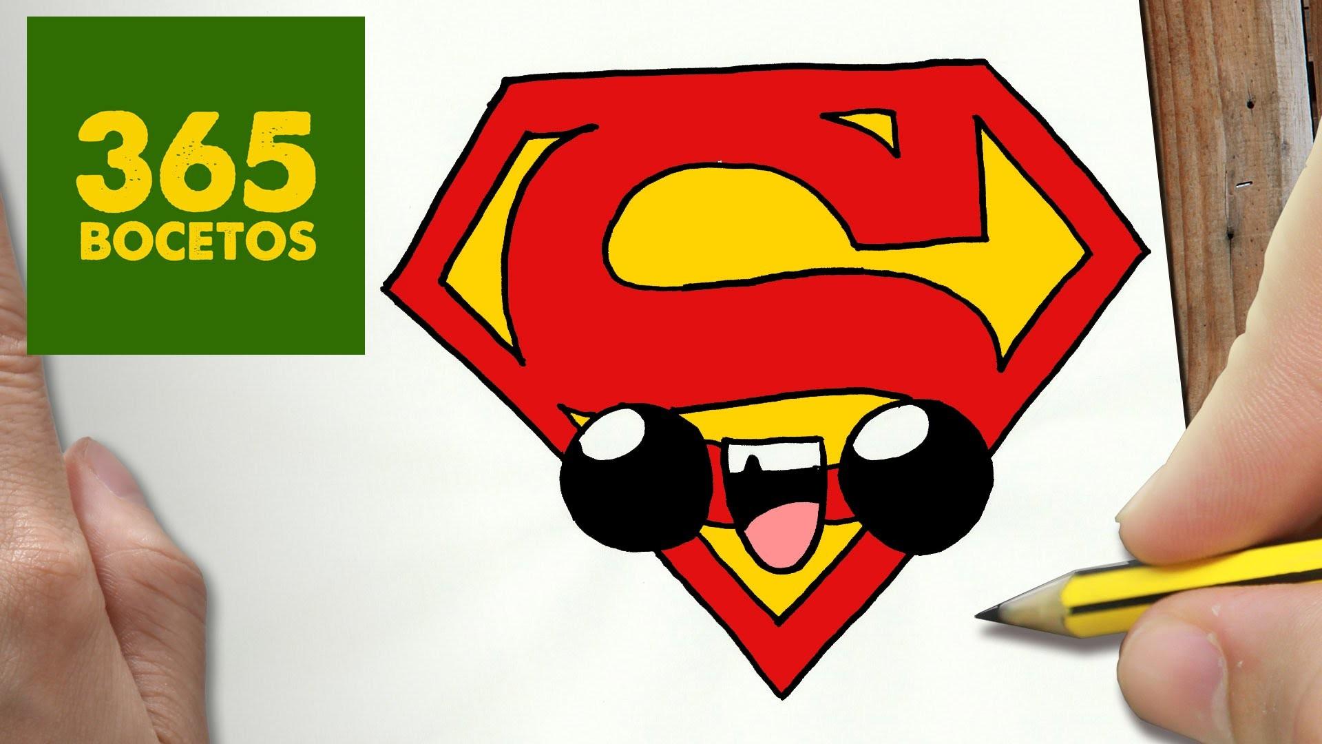 COMO DIBUJAR ESCUDO SUPERMAN KAWAII PASO A PASO
