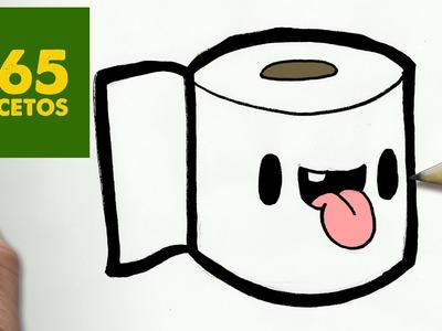 COMO DIBUJAR PAPEL HIGENICO KAWAII PASO A PASO - Dibujos kawaii faciles - How to draw a toilet paper