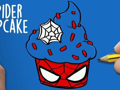 COMO DIBUJAR SPIDERMAN CUPCAKE PASO A PASO - Dibujos faciles - How to draw a SPIDERMAN CUPCAKE