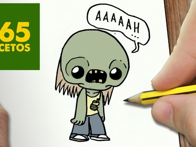 COMO DIBUJAR ZOMBIE KAWAII PASO A PASO - Dibujos kawaii faciles - How to draw a Zombie