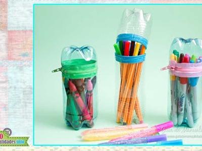 Como hacer estuches Escolares con pet - How to make school kits with pet
