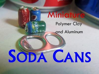 DIY Polymer Clay and Aluminum Dollhouse Miniature Soda, Pop, Soft Drink Cans Pepsi Sprite Coca Cola
