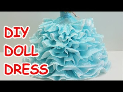 Doll Dress: Bath Tissue Ribbon and Plastic Bottle