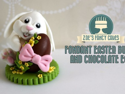 Fondant Easter bunny cake topper chocolate egg how to make fondant bunny tutorial cake decorating