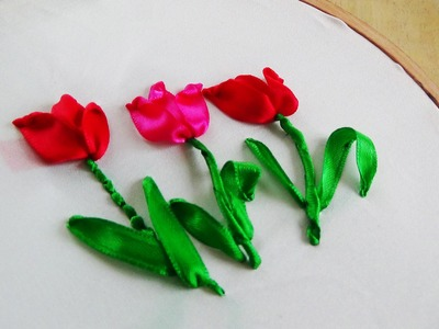 Hand Embroidery: Tulip ribbon embroidery