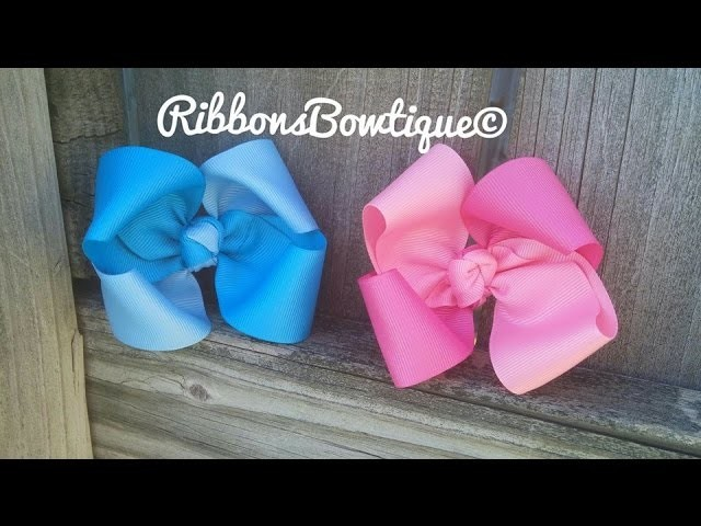 """HOW TO: Make a """"Duo Colored Twisted Boutique Bow"""" with a Knot Center"""