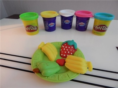 How to Make Play Doh Fruit Assortment - Strawberries, Bananas, Apple.