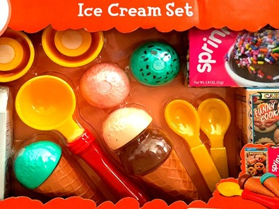 Ice Cream Set Just Kidz Play Food Play-Doh Ice Creams Scoops Popsicles Ice Cream Cones Toy Food