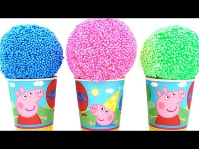 Peppa Pig Foam Clay Surprise Eggs Ice Cream Cups Disney Princess Minnie RainbowLearning