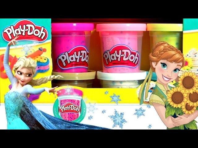 Play Doh Confetti using Glitter Glider Elsa Anna Disney Frozen MagiClip Snow Belle Magic Clip Dolls