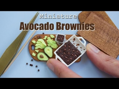 Polymer Clay Avocado Brownies. Miniature Food Tutorial with Fimo