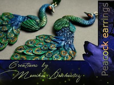 Polymer clay peacock earrings. pawie kolczyki