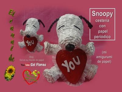 Snoopy cestería con papel periódico - Snoopy basketry with newspaper