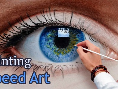 Speed Painting an Eye in oil dry brush. realistic (How To Draw)