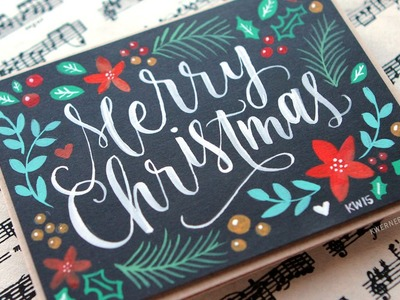Brush Lettering & Hand Painted Christmas Card
