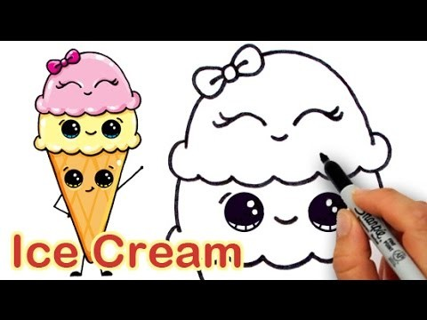 How to Draw Cartoon Ice Cream on a Cone Cute and Easy
