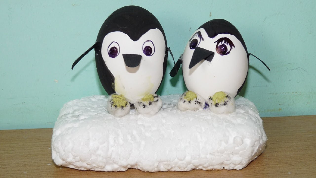 How to make a Penguin Couple from Egg shell