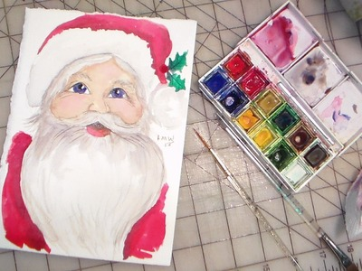 How to paint santa watercolor