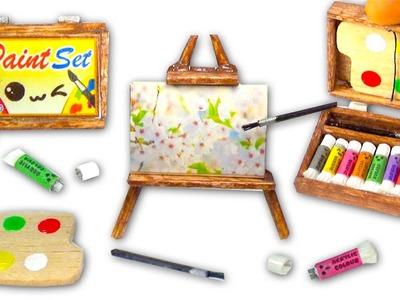 Miniature DIY Paint Set (paintings, easel, palette, acrylic colors) - Art Supplies - YolandaMeow♡