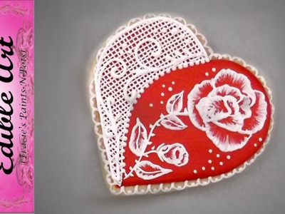 Rose and Lace Brush Embroidered Heart Cookie