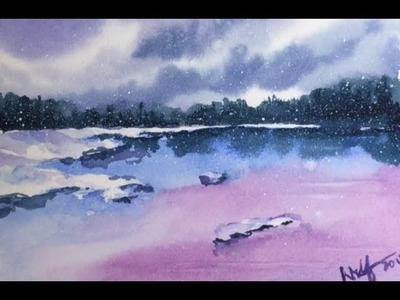 Simple Watercolor Winter Scene Demonstration