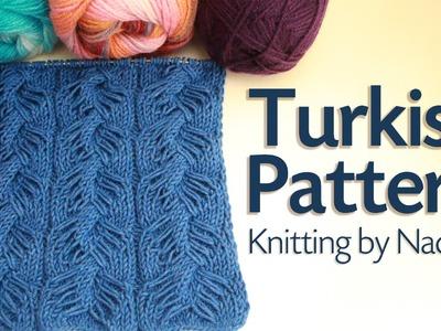 Turkish cable pattern knitting. Wheat Ear Loop Stitch Pattern.