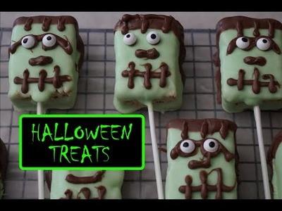 Frankenstein Rice Krispy Treats for Halloween - DIY for Kids
