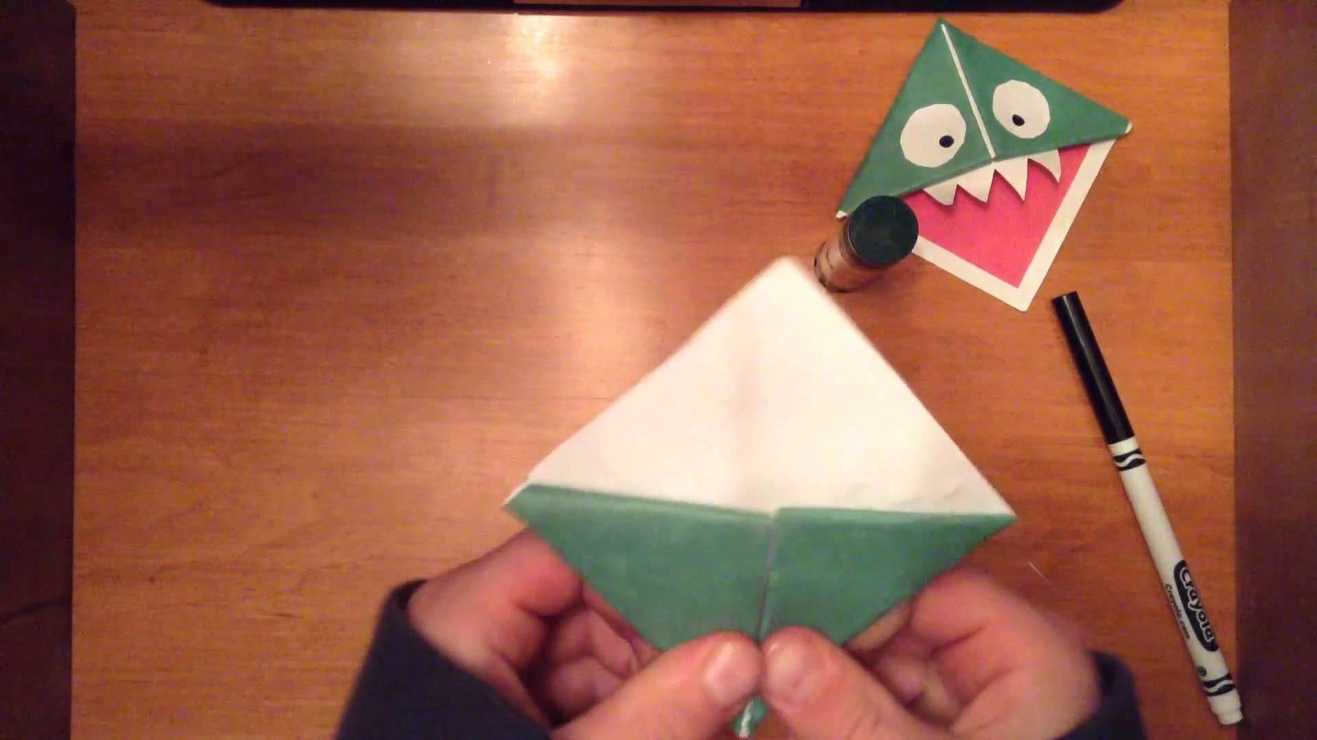 How to Fold an Origami Monster Bookmark