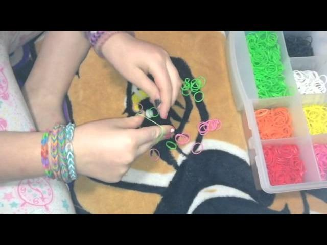 Rubber band bracelet tutorial: single band  ❤❤❤    Difficulty: simple❤