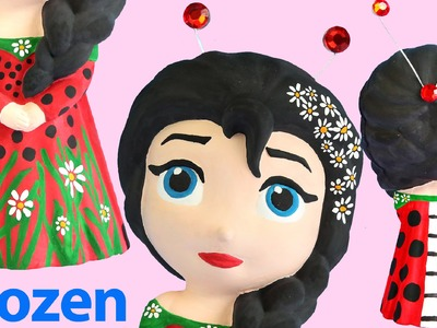 DISNEY FROZEN ELSA Doll Dress MISS LADY BEETLE Paint Your Own Toys Black Hair Costume Figurine