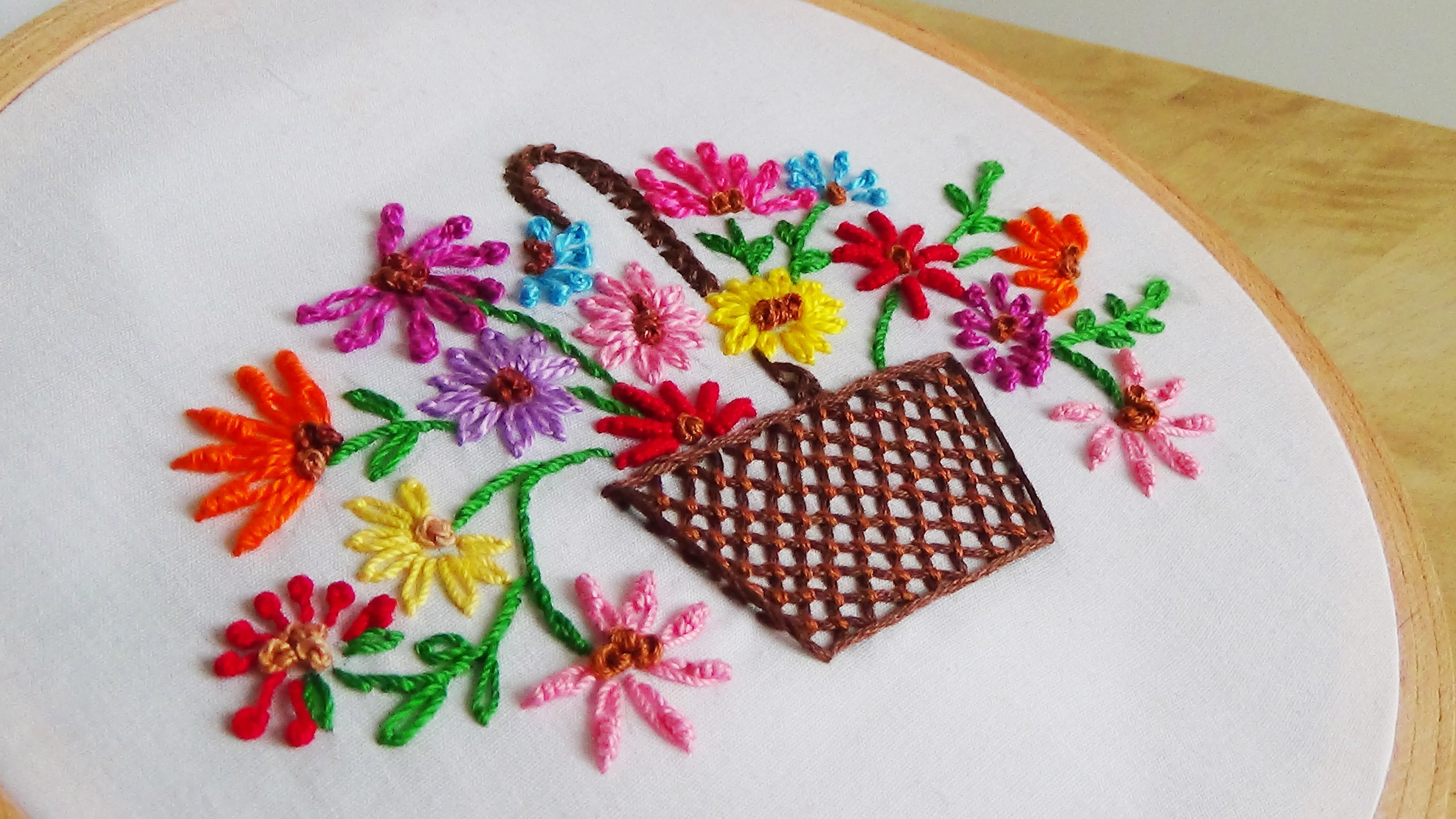 Hand embroidery flowers basket my crafts and diy projects