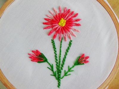 Hand Embroidery: Bullion Knot Stitch & Bullion Lazy Daisy Stitch