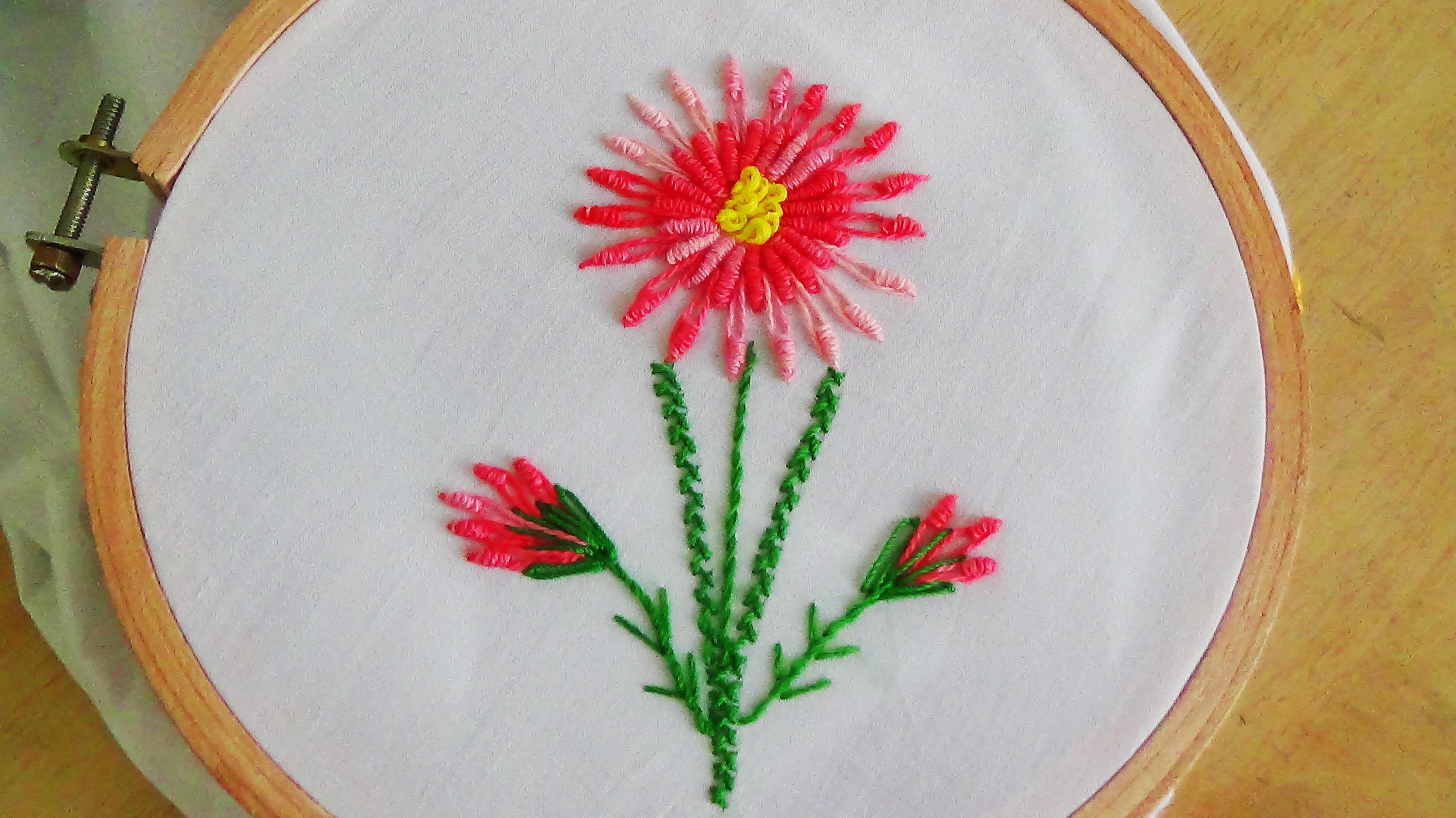 Hand Embroidery Bullion Knot Stitch Amp Bullion Lazy Daisy