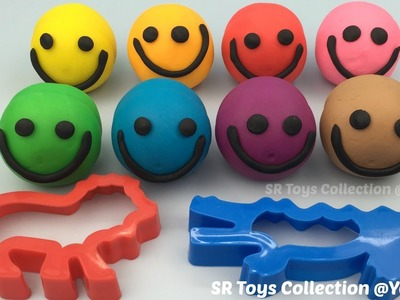Play Dough Smiley Face with Lion and Crocodile Molds Fun Creative for Kids