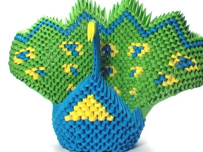 3D origami green peacock (remake)