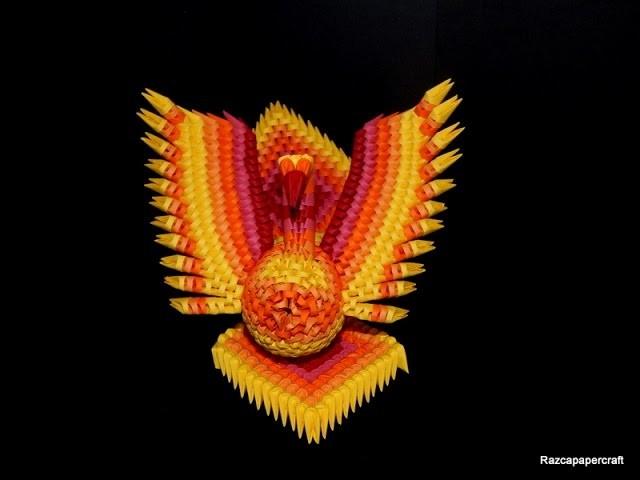 3D origami Phoenix tutorial 1 (3d origami fire-bird part1)