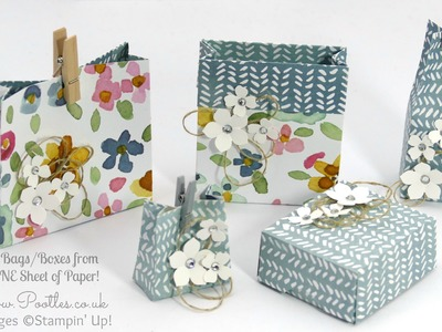5 Bags Boxes from 1 Sheet of Stampin' Up! DSP