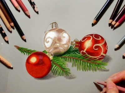 Colored Pencil Drawing ★ Christmas Tree Decorations