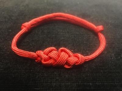 Double Eternity Knot Adjustable Paracord Friendship Bracelet With Sliding Knot