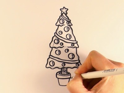 How to Draw a Cartoon Christmas Tree and Decorations