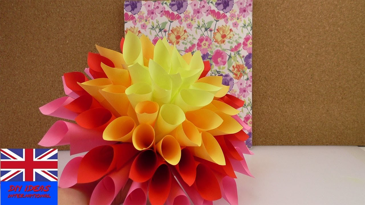 MAKE A BIG PAPER FLOWER! Decoration idea beautiful and easy to make!