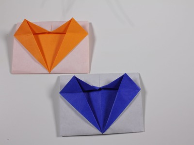 Origami envelope : Message Card with Heart