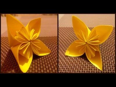 Origami flowers for beginners. Easy modular origami for children.kids. Origami daffodil flower
