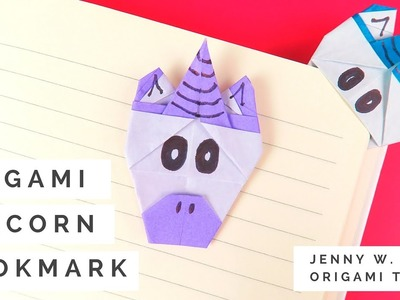 Origami Unicorn Bookmark Tutorial - How to Make A Paper Unicorn Bookmark (Collab with Red Ted Art)