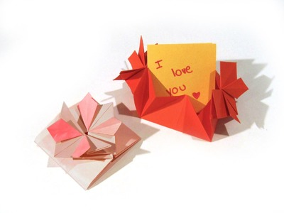 Origami Valentine's Day Flower card Envelope with Secret Message - Flower Card - Easy origami